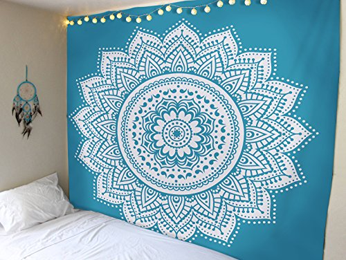 Blue White Ombre Mandala Tapestry by RawyalCrafts- 100% Cotton Indian Wall Hanging , hippie wall decor (Bed In A Bag Queen Ombre)