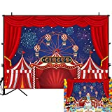 Allenjoy 7x5ft Red Circus Tent Carnival Night Photography Backdrops Colorful Fireworks Sky Ferris Wheel Kids Birthday Party Photo Background Baby Boys Cake Table Decor Banner Photobooth Props