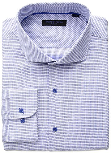 Andrew Fezza Men's Premium Fashion Textured Dobby Dress Shirt, Blue/White, 15.5