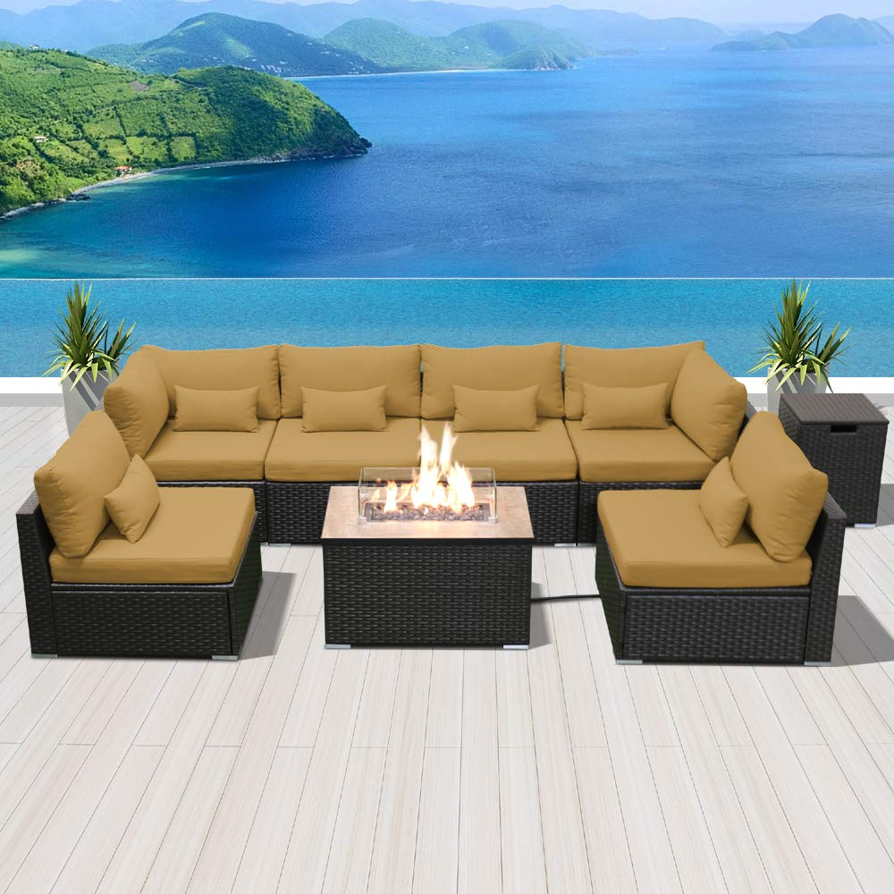 Modenzi Outdoor Sectional Patio Furniture with Propane Fire Pit Table Espresso Brown Wicker Resin Garden Conversation Sofa Set G7 Sofa Rectangular Fire Pit, Dark Beige