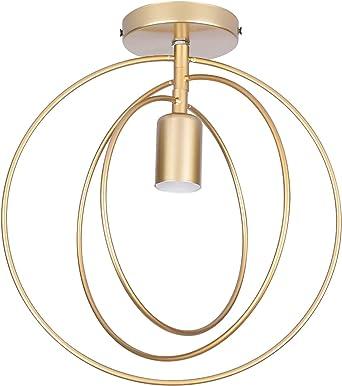 Ceiling Lights E27 Vintage Shade Gold Semi Flush Mount Ceiling Lamp Metal For Hallway Kitchen Bedroom Living Room Amazon Co Uk Lighting