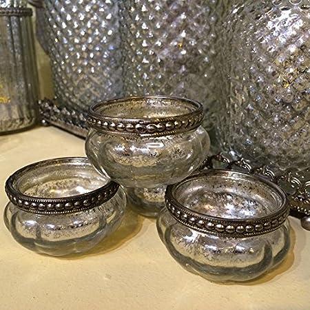 Metal Vintage Style Glass Tea Light Candle Holder Wedding Decoration Antique UK
