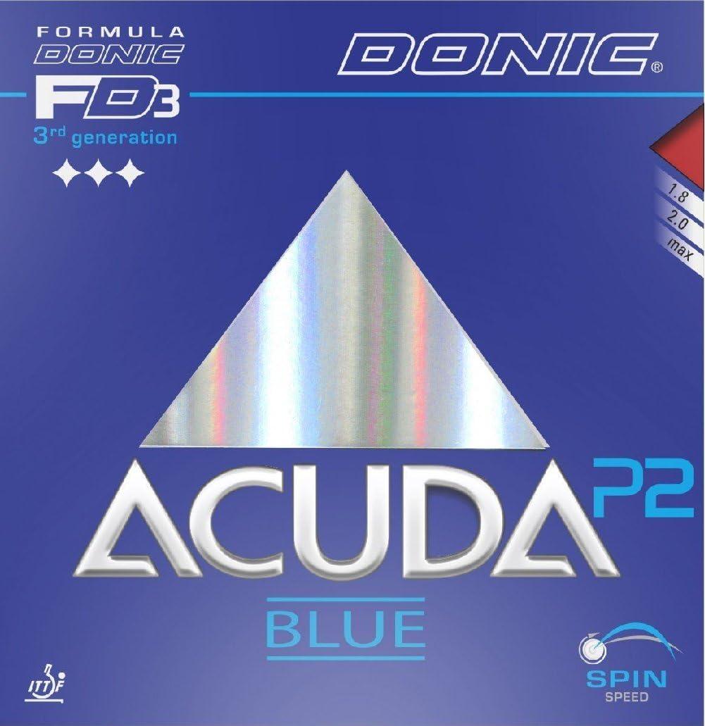 Tenis de mesa goma Donic Acuda Blue P2, 2.00mm), color rojo y negro