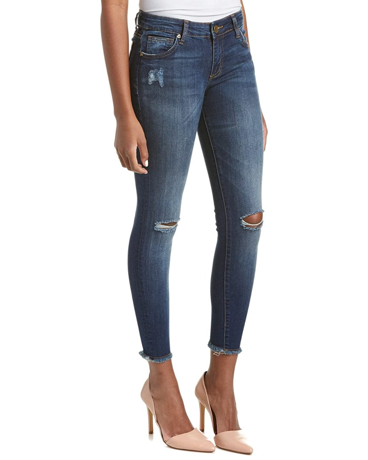 KUT from the Kloth Women's Connie Ankle Skinny Fray Hem in Skilled w/ Dark Stone Base Wash