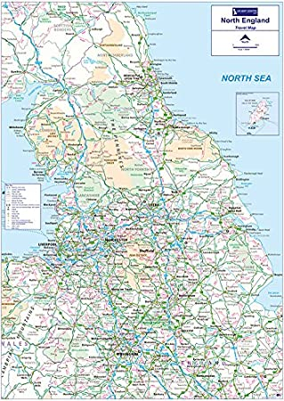 Map Of England To Colour.Travel Map 3 North England Colour Matt Paper With Face