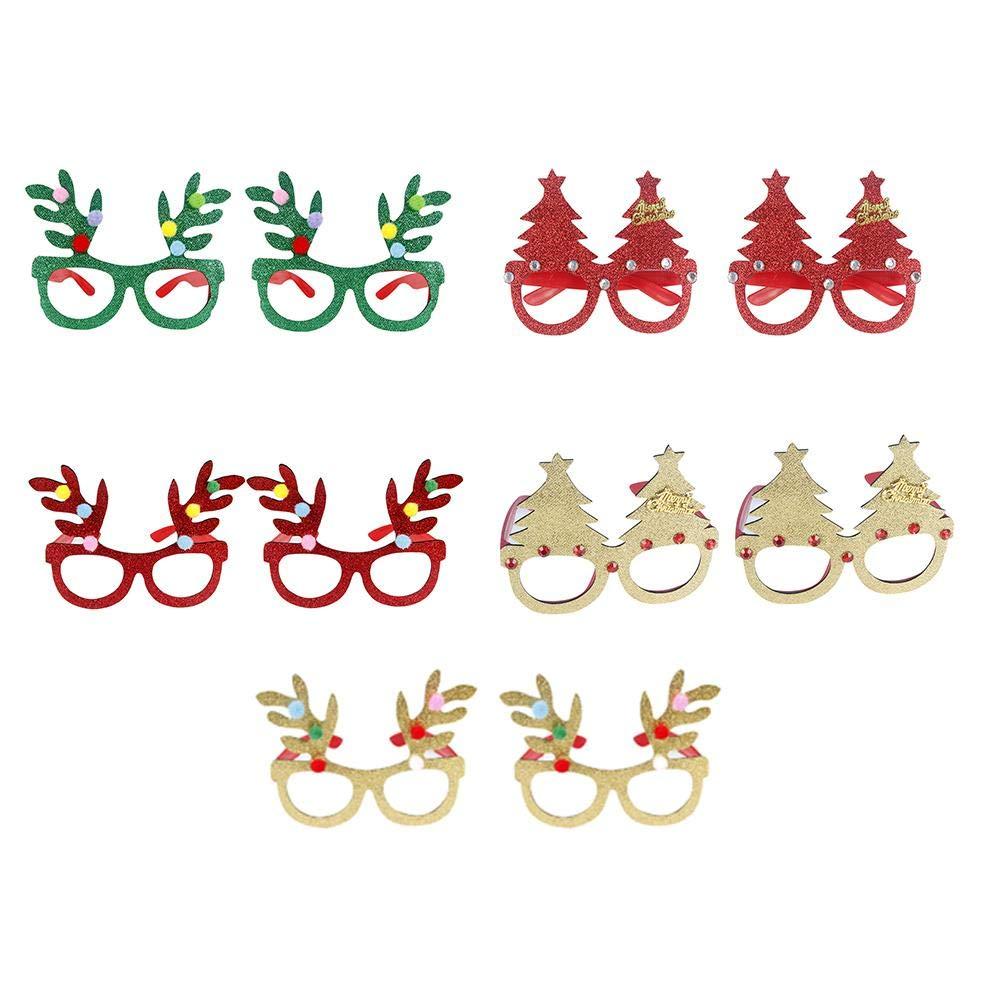 Wood.L - Juego de 10 Gafas de Navidad para decoració n de Fiesta de Navidad para niñ os
