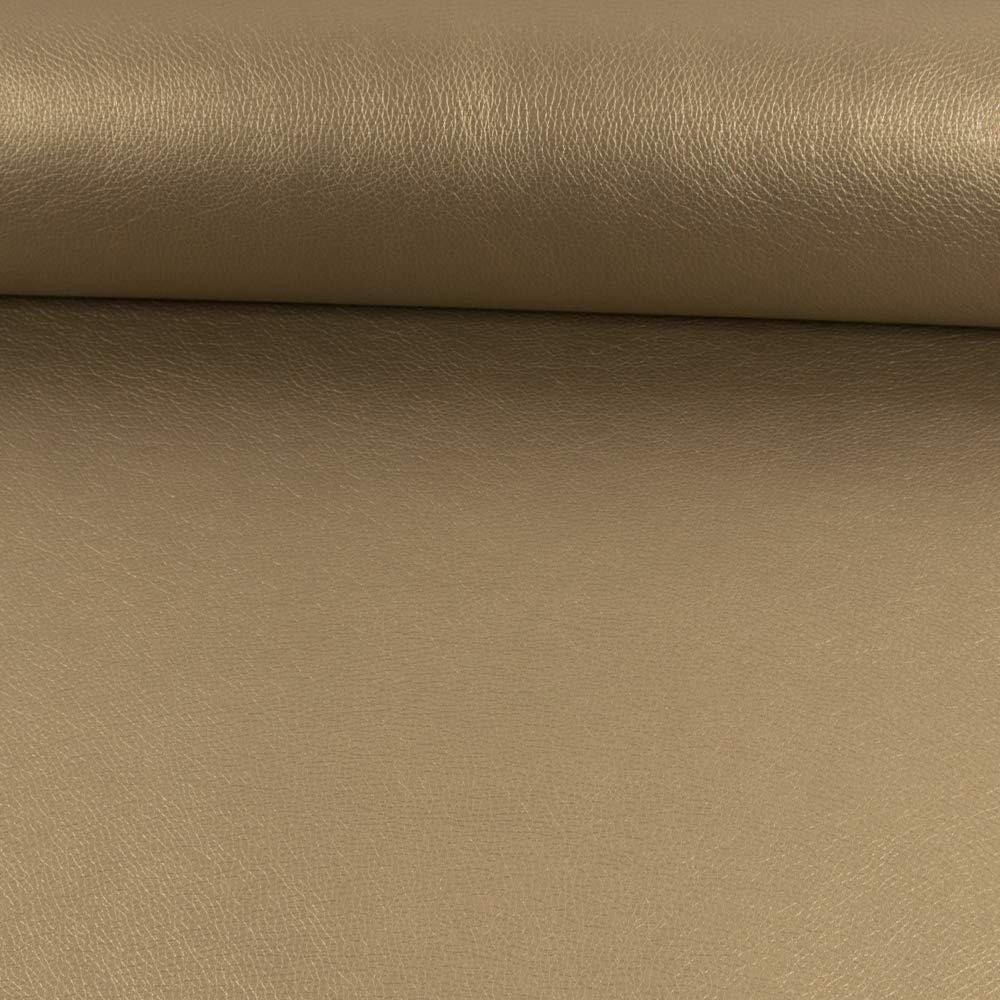 Tessuto Werning in similpelle, tinta unita, color tortora, imbottito, per 0,5 metri Stoffe Werning