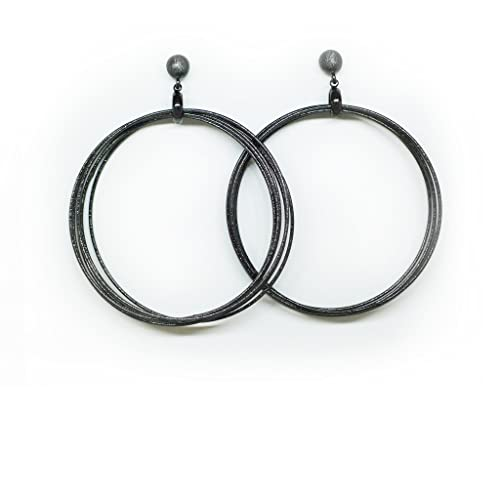 Amazon.com  Hera Hoop Earrings with Large Black and Gunmetal Hoops  Jewelry e525eac61