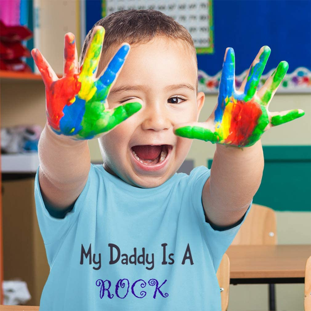 Custom Toddler T-Shirt My Daddy is A Rock Star Dad Fathers Day Cotton