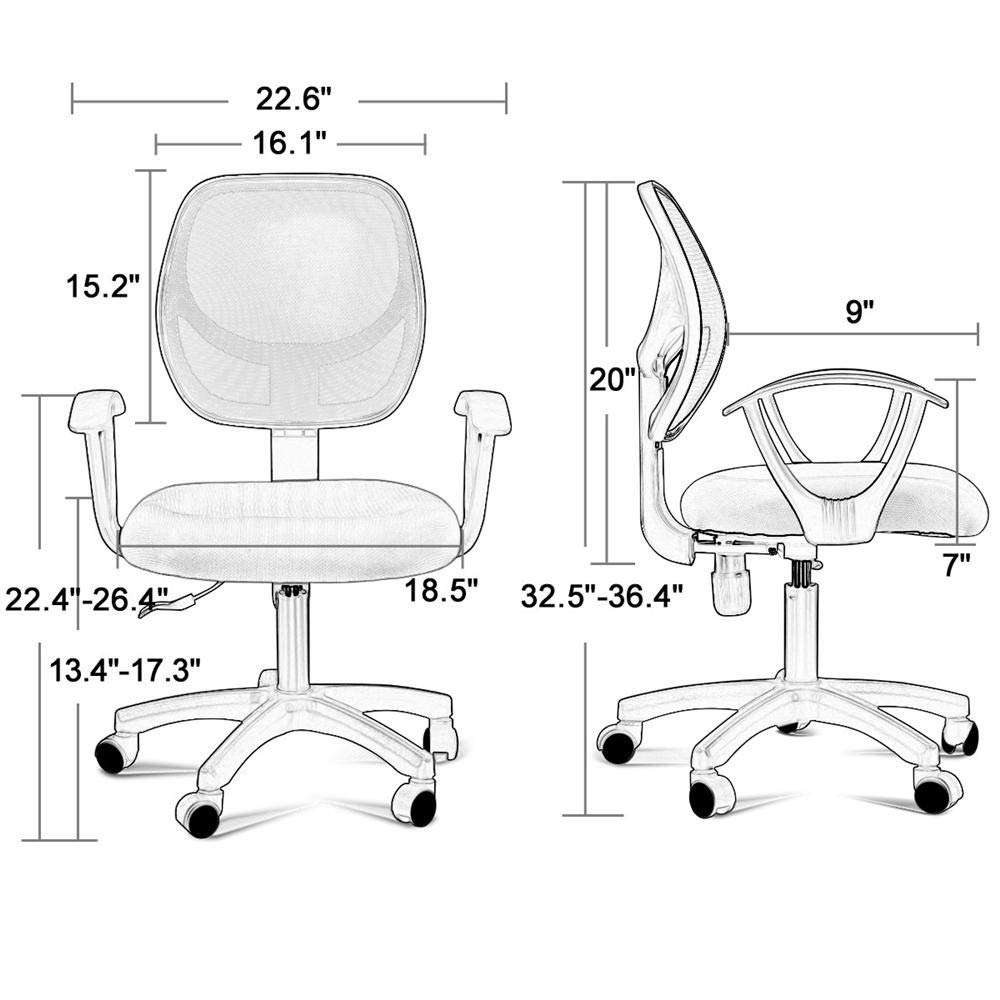 Yaheetech Desk Chiar Office Chair Ergonomic Mid-Back Mesh Computer Chair Height Adjustable with Armrest Swivel Office Chair Lumbar Support Swivel Chair (Black) by Yaheetech (Image #4)