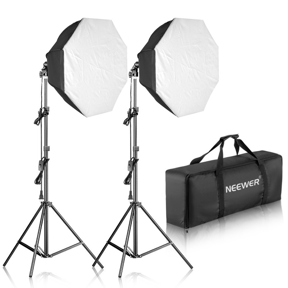 Neewer 700W Octagon Softbox Continuous Lighting Kit for Camera Photo Video Photography, Includes: (2)32x32 inches/80x80 centimeters Softbox, (2)85W 5500K Light Bulb, (2)Light Stand, (1)Carrying Bag by Neewer