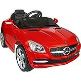 HOMCOM Coche Eléctrico Bateria 6V Automóviles Infantiles para Niños Mercedes Benz 81200 Color Rojo Mando Control Remoto y conexion MP3 Llaves encendido Luces de Faros y Claxon