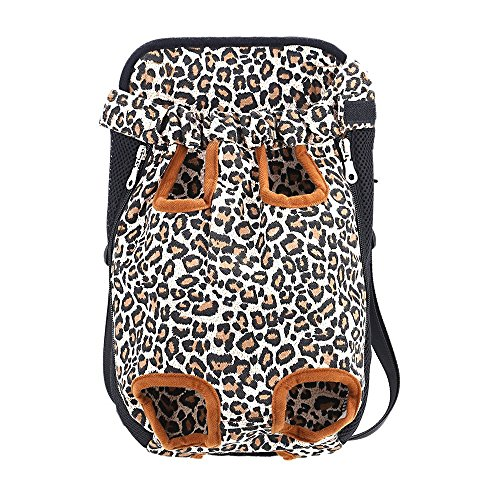 SALICO Breathable Mesh Pet Cat Carrier Front Pack, Double Shoulder Legs Out Dog Front Carrying Backpack, Pet Head Out Bag for Bicycle Bike Car Walking Hiking Travel (L, Leopard) (Pet Carrier Pink Leopard)