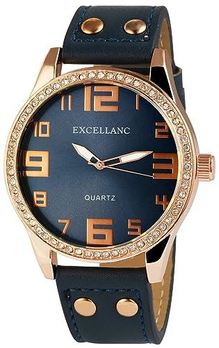 XXL Mujeres Reloj De Pulsera Azul Dorado Analógica Diamantes imitación Metal Cuero Cuarzo: Amazon.es: Relojes