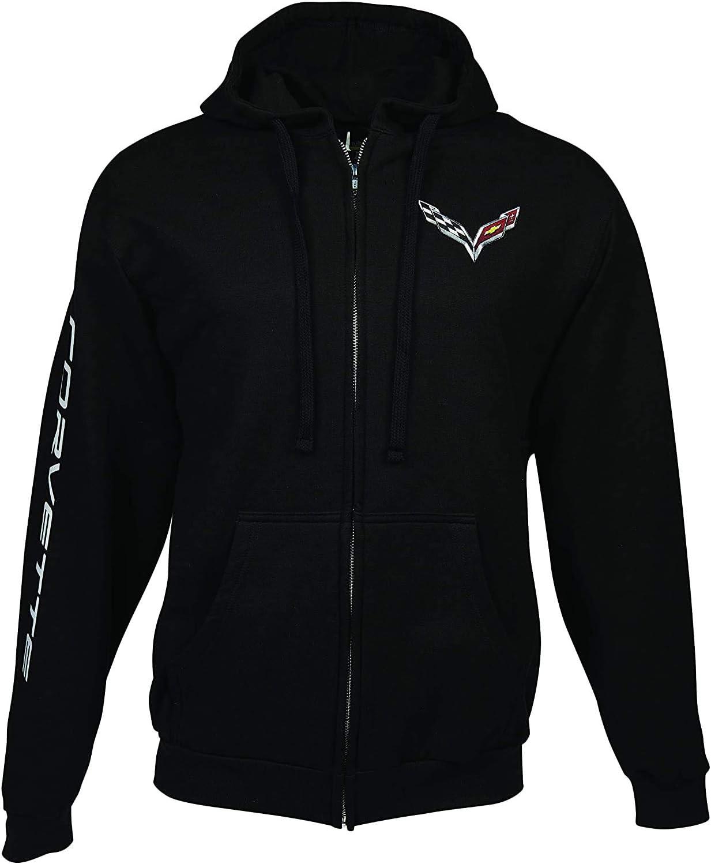 XX-Large C7 Corvette Born in The USA American Legacy Zip Up Hoodie Jacket Black