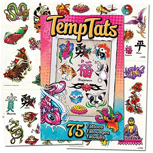 Asian Themed Costumes (Traditional Japanese Temporary Tattoos Costume Set -- 75 Asian Tattoos (Dragons, Koy Fish, Yin Yang and More))