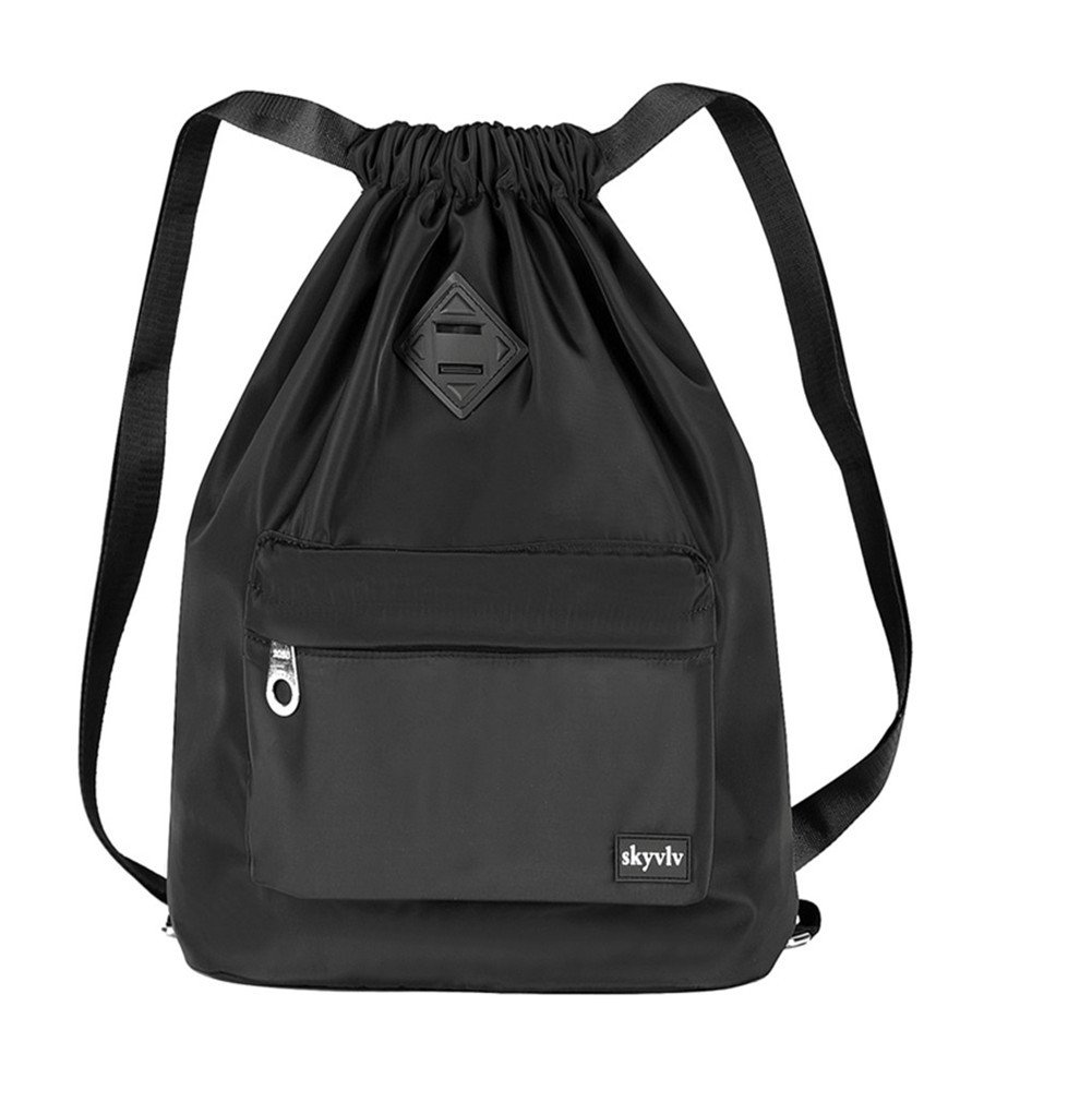 Travel Sports Yoga Gym Drawstring Bag Backpack Training Gymsack Sackpack Backpack With Pockets Zippered for Men and Women (Black)
