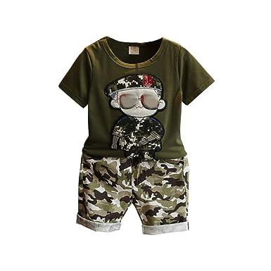 Baby Kinder Jungen Kleidung Tops T-Shirt Camouflage Hose Shorts Outfits Set-Neu