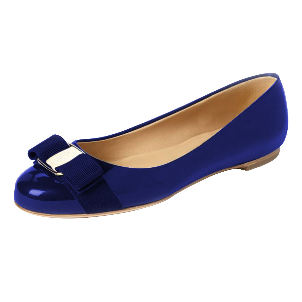 FSJ Women Cute Bowknot Round Toe Ballet Flats Slip On Casual Office Comfy Pumps Shoes Size 4-15 US B077P2YN1T 8 B(M) US|Blue