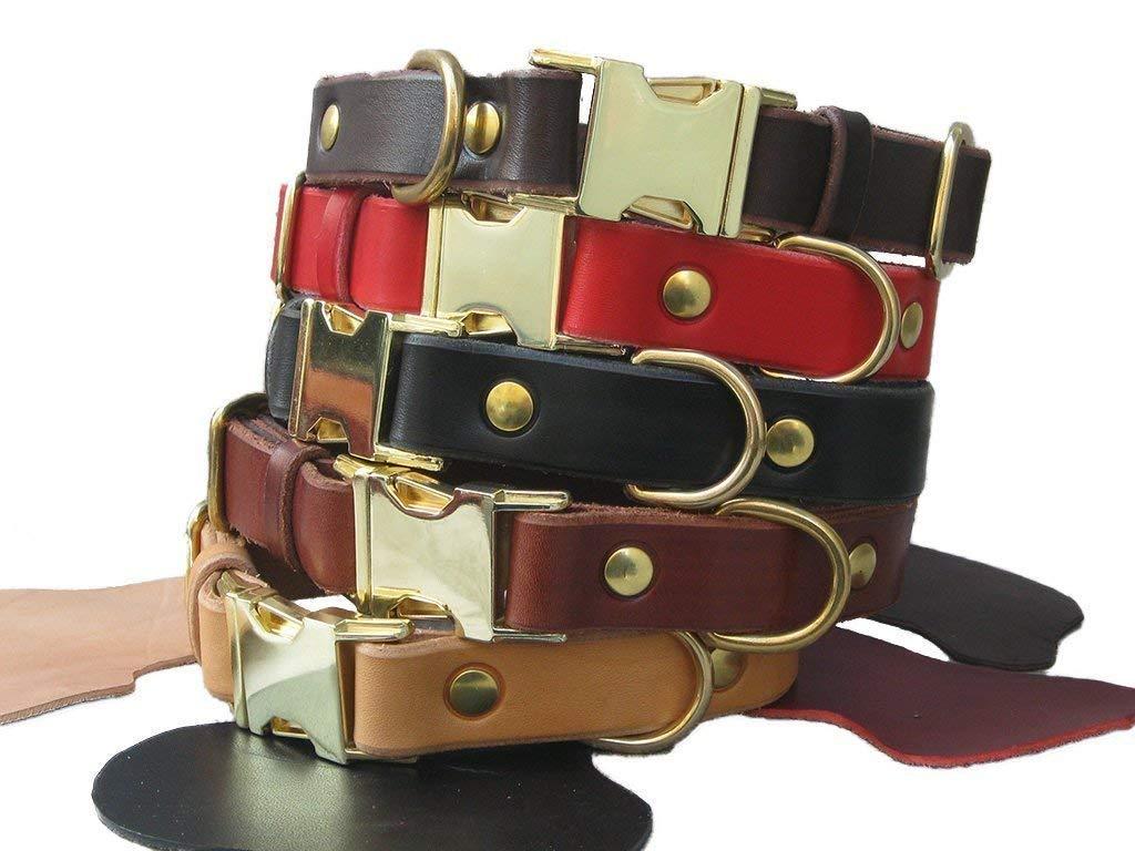 Collier pour chiens en cuir de premier choix avec nom grav/é et//ou num/éro Fait /à la main en Italie Boucle de lib/ération confortable et durable YupCollars