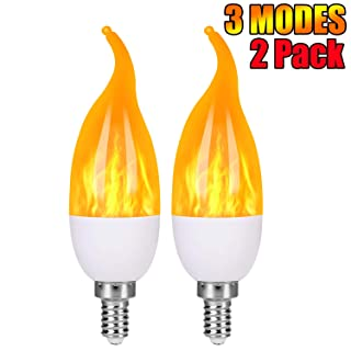 Severino -  LED Flame Effect Light Bulbs - 3 Modes Flickering Flame Candelabra Christmas Decorations Light Bulbs,E12 Base Fire Bulbs for Holiday party Decor (2 Pack)