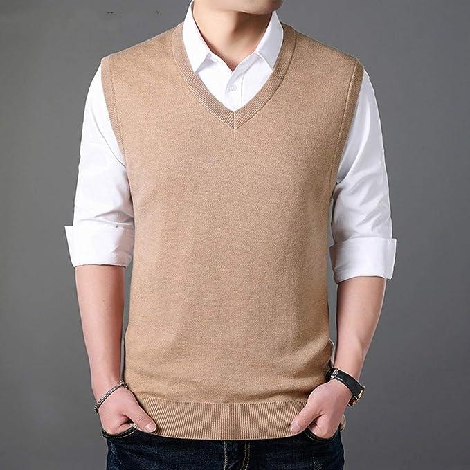 Classic V-Neck Sleeveless Vest Men Cashmere Wool Sweater Men ...