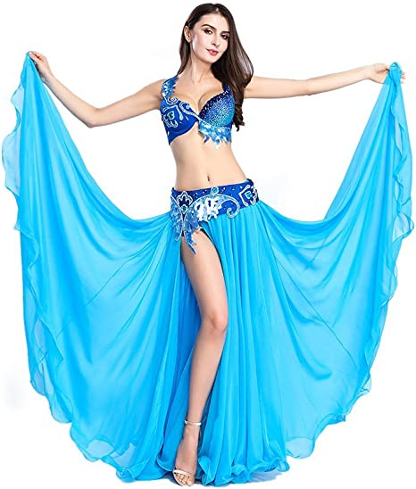 ROYAL SMEELA Belly Dance Skirt Top Bellydance Costume Suit Belly Dancing Outfit Performance Tops and Skirt Dresses Dancer Chiffon Long Skirt for Women Solid Color