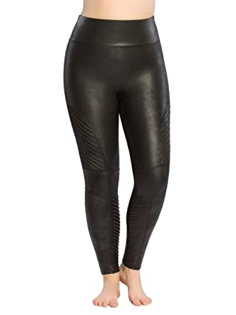 36140e332b487 SPANX Women's Plus Size Faux Leather Moto Leggings Very Black 2X 27 27 at  Amazon Women's Clothing store: