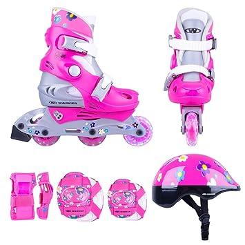 Juego de patines infantiles de línea Polly LED con ruedas iluminadas, tallas 26-29, 30-33, ajustables, set de protección, casco: Amazon.es: Deportes y aire ...