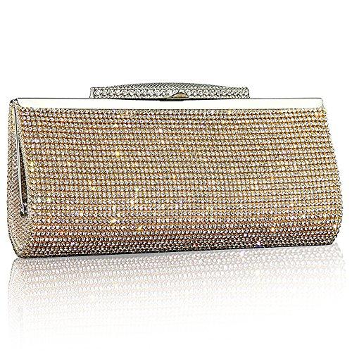 Purse Gold Sparkly Gold Bridal Black Crystal Diamante Evening Prom Fashion Silver Bag Clutch Womens Party Handbag Glitter WpwZCZTq