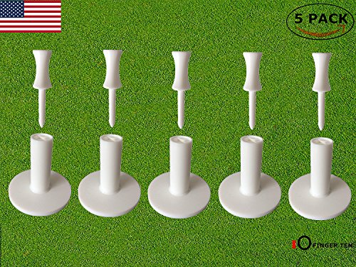 FINGER TEN Golf Rubber Tee Driving Range Value 5 Pack for Indoor Outdoor Practice Mat, Tee Adaptor Size 1.5'' 2.0'' with Free 6pcs Castle Tees (5 Pack All - Tee Golf Rubber