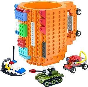 DAYMOO Build On Brick Funny Coffee Mug – 16Oz Food Grade Plastic Kids Cups Compatible with Lego Bricks – Cute Mugs Ideal for Creative Thinking, Fine Motor Skills, Problem Solving Abilities(Orange)