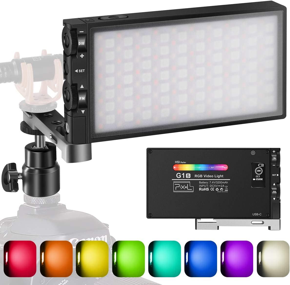 Pixel G1s RGB Video Light, Built-in 12W Rechargeable Battery LED Camera Light 360° Full Color 12 Common Light Effects, CRI≥97 2500-8500K LED Video Light Panel with Aluminum Alloy Body