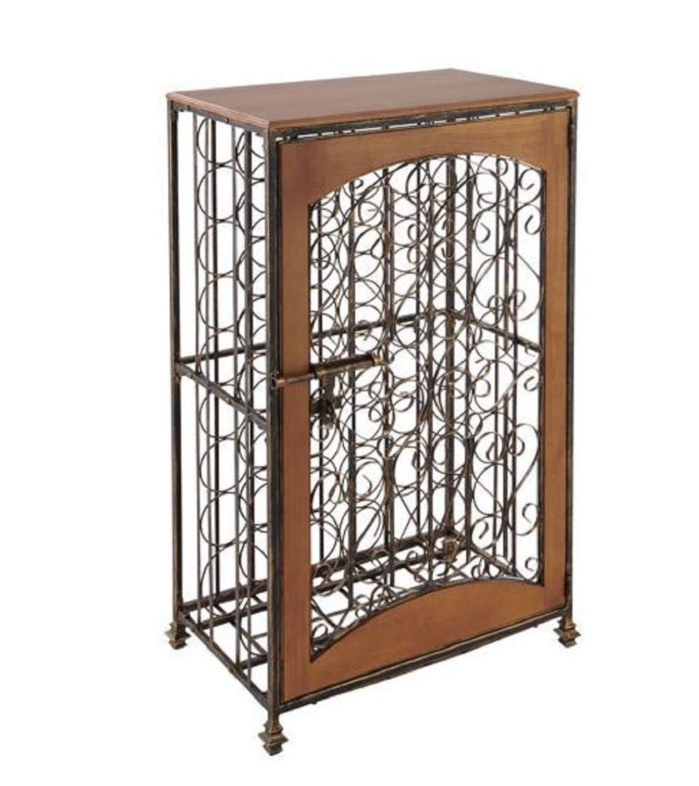 Amazon com wine rack 48 bottle antiqued steel wood accent antiqued steel wood combines function with elegance for attractive wine storage
