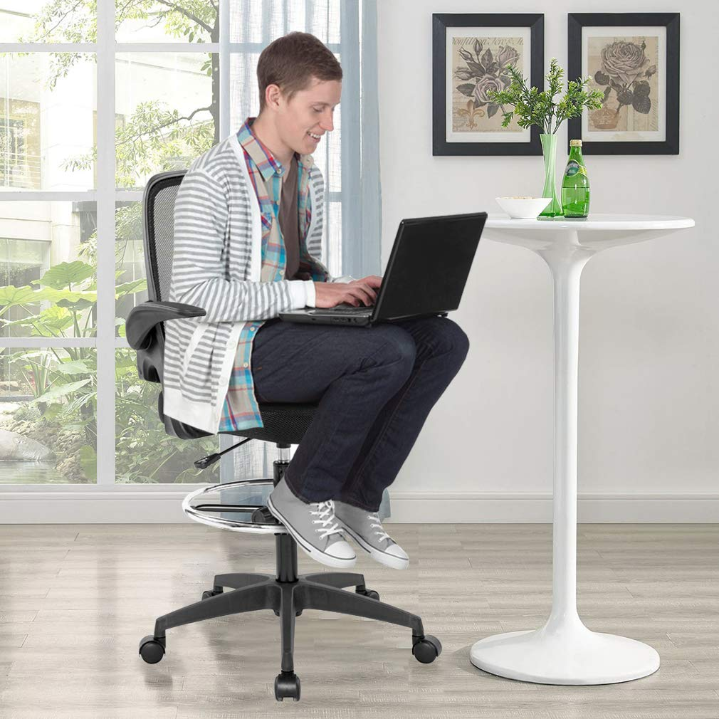 Drafting Chair Tall Office Chair Desk Chair Mesh Computer Chair Adjustable Height with Lumbar Support Flip Up Arms Swivel Rolling Executive Chair for Standing Desk by BestOffice (Image #3)