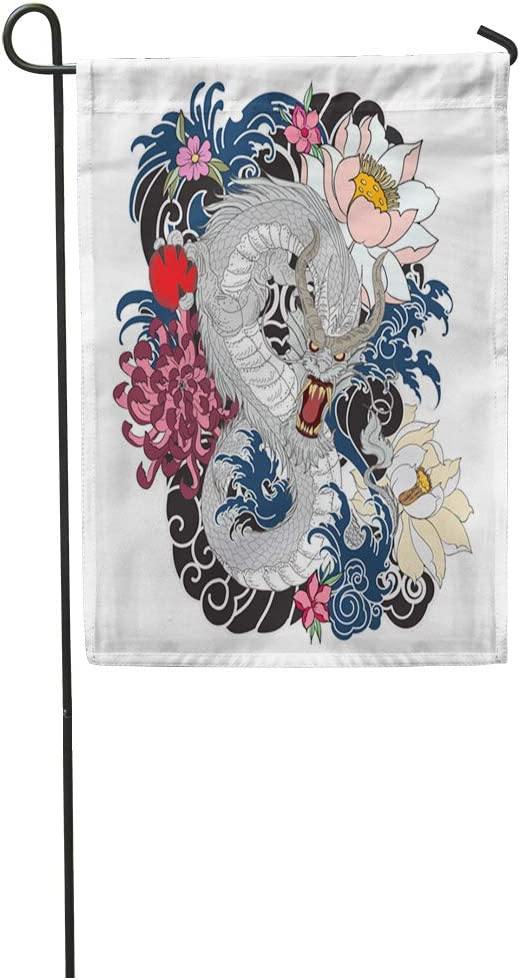 Amazon Com Semtomn 12 X 18 Garden Flag Art Dragon Tattoo Design