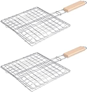Hemoton 2PCS Stainless Steel Barbecue Net Barbecue Wire Mesh Grilling Basket with Wooden Handle for Outdoor BBQ Picnic