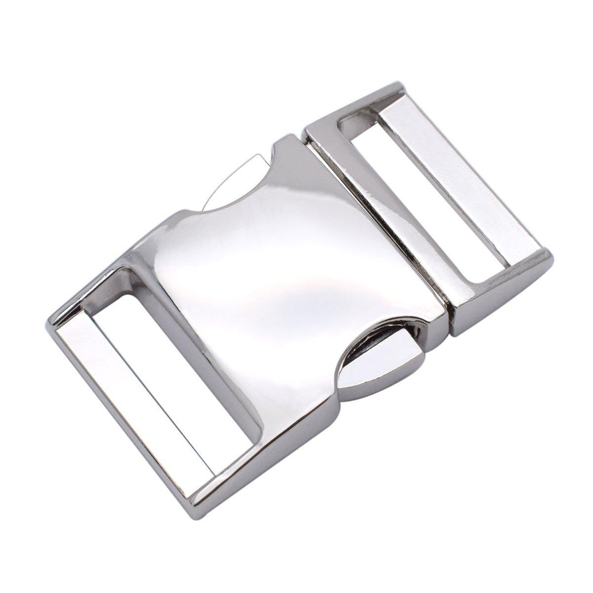 1 Inch Metal Buckles Side Release Clasp Use for 25mm Webbing/Paracord Bracelet/Bag/Backpack 5 Pack
