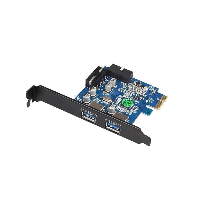 TeckNet - Tarjeta PCI-E (perfil bajo, 4 pines, 4 puertos USB ...