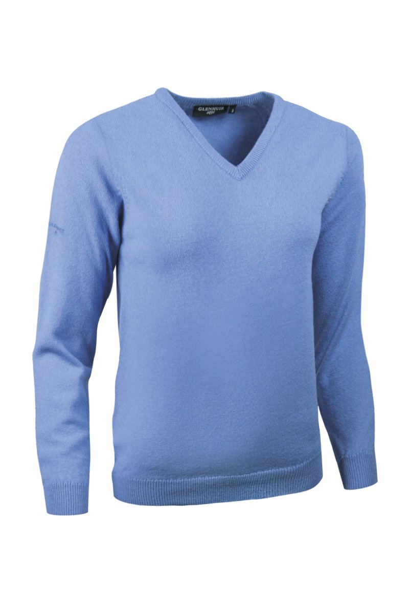 Glenmuir Ladies LKL2542VN V Neck Lambswool Golf Sweater Light Blue M by Glenmuir