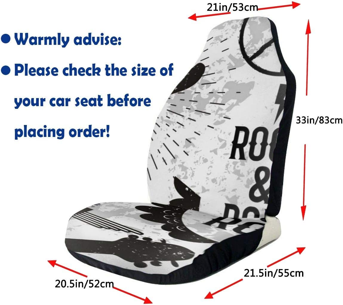 N//D Rock and Roll 2 PCS Auto Seat Cover,Car Bucket Front Seats Protector Cushions Universal fit for SUV Sedan,Truck