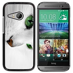 YiPhone /// Prima de resorte delgada de la cubierta del caso de Shell Armor - White Cat With Green Eyes - HTC ONE MINI 2 / M8 MINI