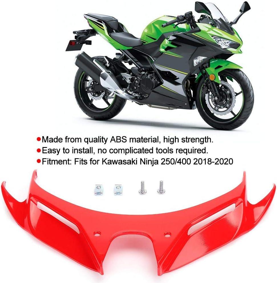 Qiilu Couvercle daile de pare-brise a/érodynamique de car/énage avant noir car/énage de nez de moto ABS pour Ninja 250//400 2018-2020