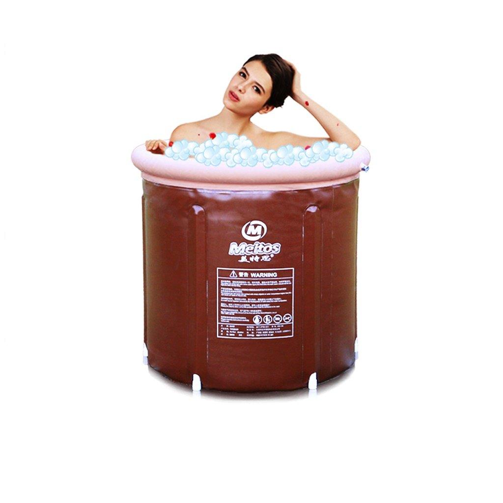 Brown Large KTYX Adult Bathtub Home Folding Bathtub Large Inflatable Plastic Bathtub Inflatable bathtub (color   BROWN, Size   Large)
