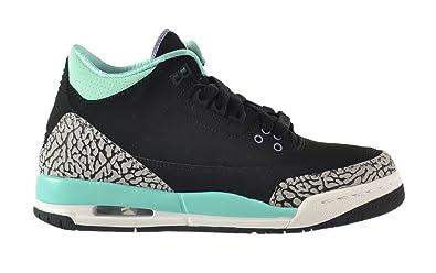 414cd456fcdeb6 Jordan Air 3 Retro GG Big Kids Shoes Black Iron Purple Bleached Turquoise