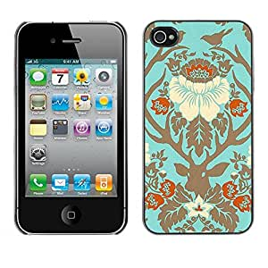 FECELL CITY // Duro Aluminio Pegatina PC Caso decorativo Funda Carcasa de Protección para Apple Iphone 4 / 4S // Birds Floral Spring Deer Gold Leaves