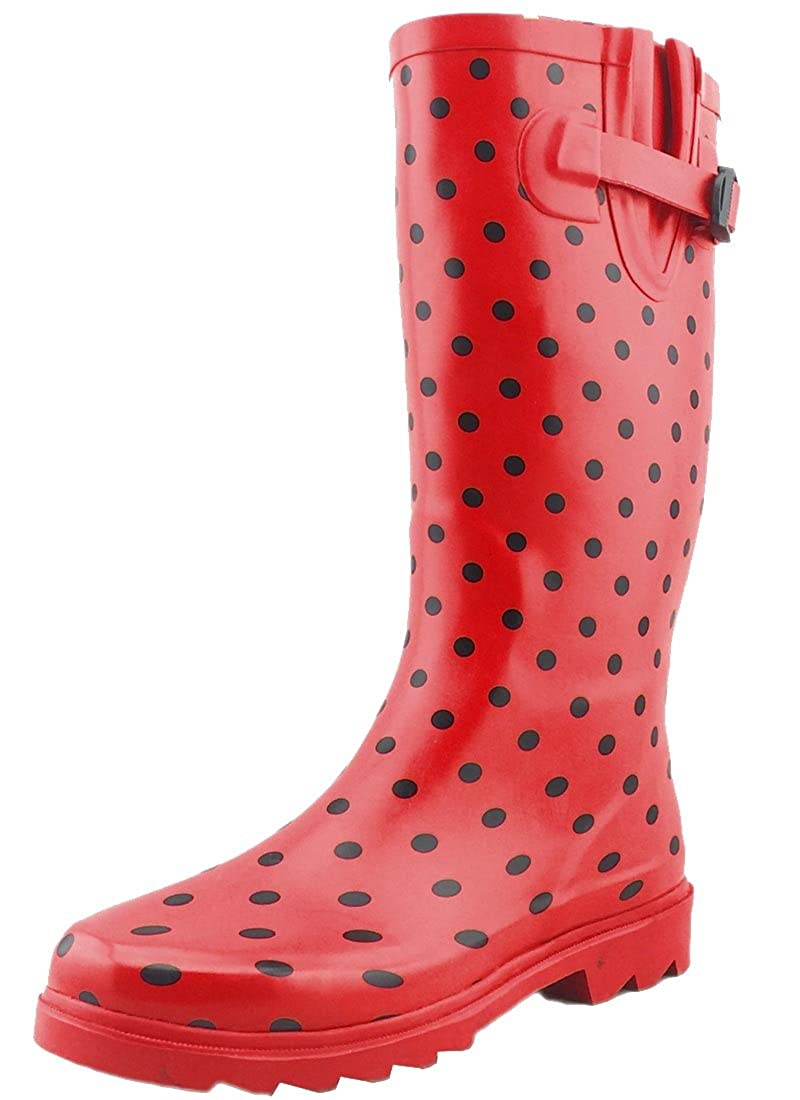 Red Black Dot Cambridge Select Women's Waterproof Pattern Print Knee High Welly Rain Boot