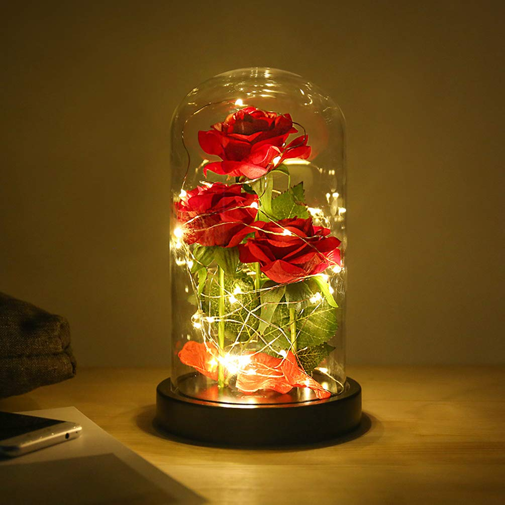 Beauty and The Beast Rose flowers, 40 LED Lights in Glass Dome on Wood Base, Warm Light mode, a Fallen leaves, Multi Use for Home/Office or Home Decorations, Mother's Day Gifts for Women