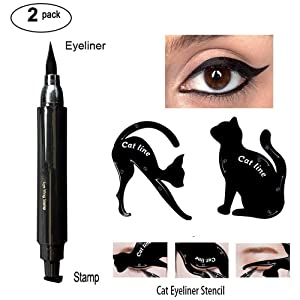 Waterproof Eyeliner Stamp Liquid Eyeliner Pen Easy to Makeup Tool Cat Eye Wing Eyeliner Stamps Set 1 Second Eye Make Up Wing Stamp Eyeliner Pen With Cat Eyeliner Stencil