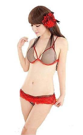 Loverx New Sexy Womens Red Bikini Nightwear Sleepwear Beachwear Lingerie Bra  Panty Set (Free Size 781909518